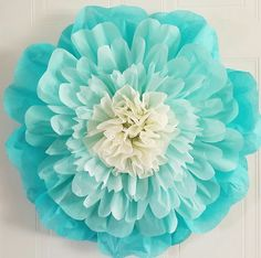 Would be easy to diy hot glue tissue paper flowers to a large 20 inch aquamarine tissue paper flower more mightylinksfo