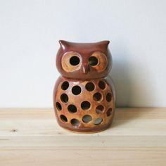 Vintage 1969 Ceramic Owl Candle Holder/Cover  Vandor by sariloaf