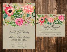 Watercolor Floral Wedding Invitation Set