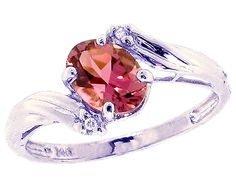 14K White Gold Oval Pink Tourmaline Gemstone and Diamond Engagement Ring