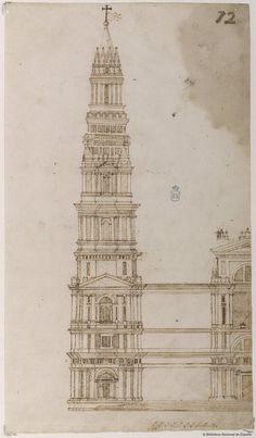 [Torre y fachada principal de San Pedro de Roma]. Anónimo español s. XVI — Dibujo — 1550-1600?