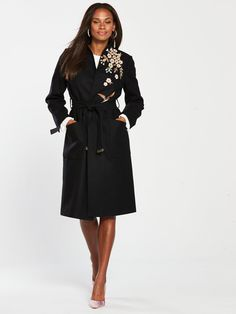 Ted Baker Fennela Graceful Embroidered Wool Coat - Black | littlewoodsireland.ie High Leg Boots, Long Toes, Wool Coat, Ted Baker, Dress Outfits, Cashmere, Dresses For Work, Classy, Lingerie