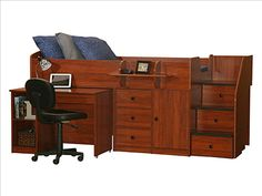 Newly Redesigned Berg Furniture Twin Size Captains Bed With Hide A Way Desk  $1760