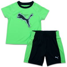 Puma Cat 2 Piece Short Set - Boys Athletic Shorts and Active Tee Outfit Green 4. Puma Boys 2 Piece short outfit includes 1 breathable polyester tee shirt and 1 pair of boys athletic shorts. Puma kids clothing is great for camp, school, sports practice, or out for ice cream. PUMA Boys polyester athletic shirt has is bright lime green with black trim to match the active PUMA shorts. PUMA boys t-shirt has the PUMA CAT logo on the front. Boys mesh athletic shorts are loose and comfortable with…