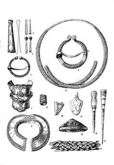 Āraišu ezerpils - dzelzs īleni ar ornamentētiem raga spaliem; 15. − pītas lūku jostas fragments
