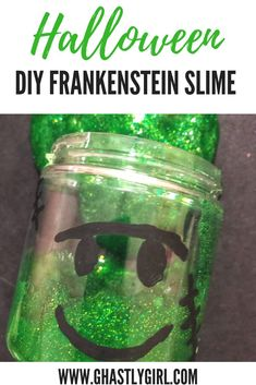 Fun Frankenstein themed Halloween DIY slime activity for kids Diy Halloween Slime, Halloween Crafts For Toddlers, Autumn Activities For Kids, Holiday Crafts For Kids, Diy Slime, Halloween Costumes For Kids, Kid Crafts, Halloween Ideas, Halloween Party