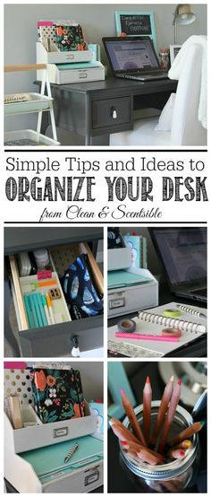 organization ideas to keep your desk (one that doesn't have a lot of storage) neat and organized!