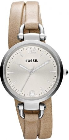 #Fossil Watch , Fossil Georgia Silver Dial Sand Leather Ladies Watch ES3197