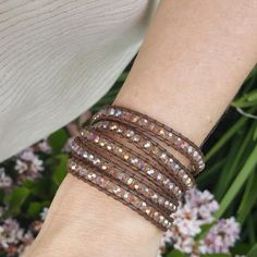 Bronze Crystals on Bronzed Brown Leather Wrap Bracelet