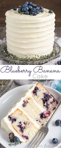 The delicious combination of bananas and blueberries gets paired with a tangy cream cheese frosting in this Blueberry Banana Cake. | http://livforcake.com