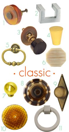 Classic drawer knobs and pulls. For the links to where to buy them, click through the the Little Green Notebook blog post
