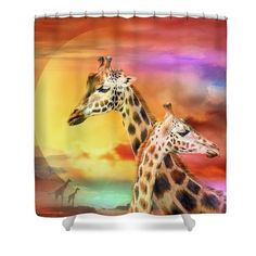 Shower Curtains - Wild Generations - Giraffes  Shower Curtain by Carol Cavalaris
