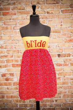 Cheery Cherry BRIDE to Be Dress Red/Yellow  Small by thearmorofGod, $49.00