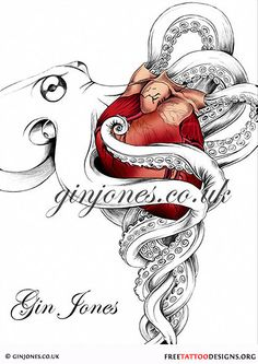 Octopus and heart tattoo design