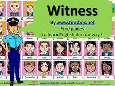 CLASSROOM GAMES - WITNESS- Physical Description-  Compréhension orale (+expression orale) -COLLEGE - Avec ou sans tableau blanc interactif