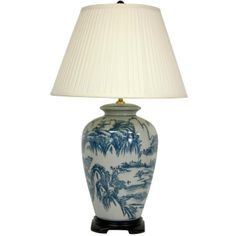 "29"" Blue and White Chinese Landscape Lamp - OrientalFurniture.com"