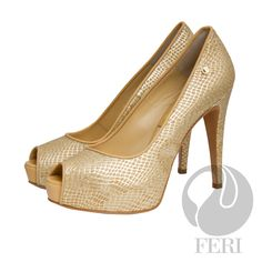 "FERI - CHARLIZE - SHOES - Gold Print - Snake skin printed napa leather pump with stiletto heel - Napa leather sole and insole - Colour: Gold - FERI logo hardware on sole and outside of heel - Heel height: 4.75"" with a platform 1.08""  Invest with confidence in FERI Designer Lines. www.gwtcorp.com/ghem or email fashionforghem.com for big discount"