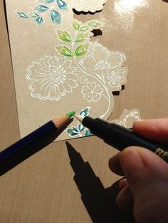 hero arts --- great idea... get color directly from pencil.. like the white stamping onto craft colored paper..
