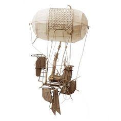 Daniel Agdag - The Second Wait: cardboard, trace paper, 58 x 28cm, 2014 #danielagdag #art #flyingmachine #flying #airballoon #sketchingwithcardboard #cardboard #sculpture #cardboardart