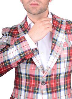 Chaqueta Hombre Americana Tartan Stuard tejido de cuadros rico en lana www.lacolonial.eu