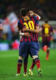 Neymar of Barcelona celebrates his goal with Lionel Messi of Barcelona during the UEFA Champions League Quarter Final first leg match between FC Barcelona and Club Atletico de Madrid at Camp Nou on April 1, 2014 in Barcelona, Catalonia.