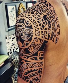 Marquesan Half Sleeve Tattoo Design for Men