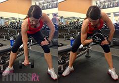 Tank Top Tone-Up - Arm-sculpting Workout. Concentration curls to work the bicep. So glad she's using a heavier dumbbell & not some really light 3 or 5 pound weight.
