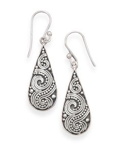 Oxidized Beaded Swirl Design Earrings