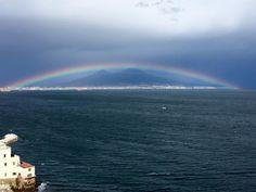 Perfect Rainbow over Mount Vesuvius in Naples, Italy