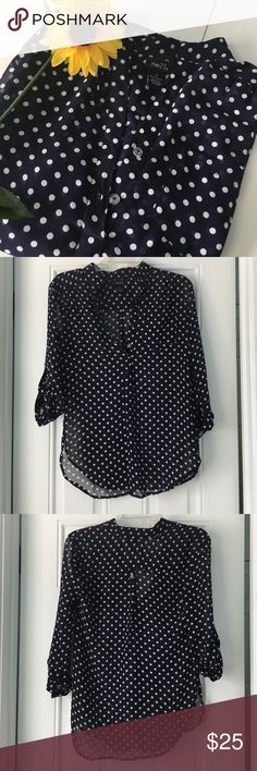 Polka Dot Blouse This beautiful polka dot blouse is perfect for an evening wear! It comes in a size small and is made of 100% polyester. The material is see through and it's has 3/4 quarter sleeves. The top half of the top can be buttoned up and there is a pocket on the left side of the top when you are wearing it. Lastly, it is in good condition! Let me know if you're interested! Rue 21 Tops Blouses