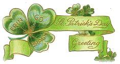 """Erin Go Braugh ~ St. Patrick's Day Greeting"" ~ vintage postcard with shamrock banner"
