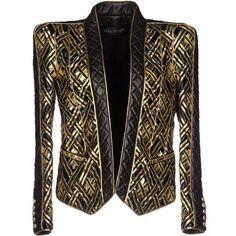 Balmain Blazer ❤ liked on Polyvore featuring outerwear, jackets, blazers, brown blazer, balmain jacket, balmain, brown jacket and balmain blazer