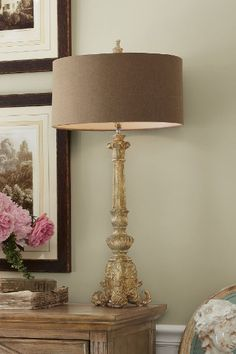 Acanthus Lamp - Decorative Lamp, Distressed Finish, Lighting   Soft Surroundings