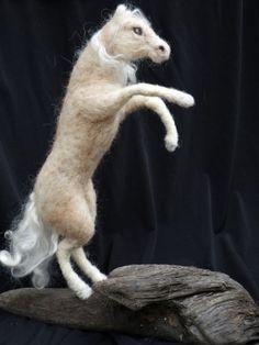 Items similar to OOAK Rearing Palomino horse sculpture. Handmade needle felted sculpture with driftwood base on Etsy Wool Needle Felting, Needle Felted Animals, Felt Animals, Animal Fibres, Felt Birds, Horse Sculpture, Palomino, Fiber Art, Horses