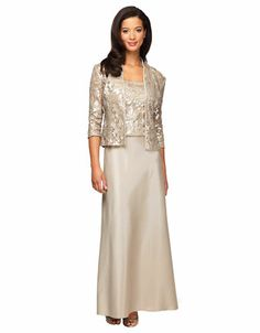Women's Clothing | Mother of The Bride | Beaded Mock Top Gown ...