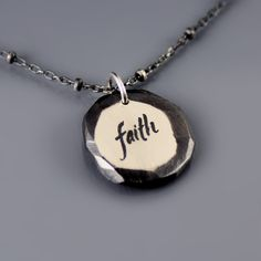 Faceted Sterling Silver Faith Necklace by Lisa Hopkins Design. Beautiful reminder to always have faith in yourself!
