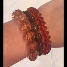 Listing! Set of Three Beaded Stretch Bracelets Set of three beaded stretch bracelet with orange and brown beads Jewelry Bracelets