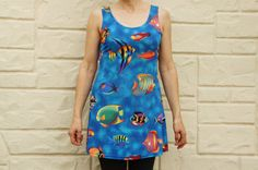 Vintage 80s-90s Tropical Fish Mini Dress Beach by SycamoreVintage