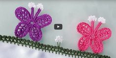 This Pin was discovered by duy Crochet Flower Tutorial, Crochet Flowers, Creative Embroidery, Hand Embroidery, Baby Knitting Patterns, Crochet Patterns, Saree Kuchu Designs, Crochet Borders, Crochet Videos