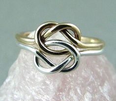 Gold and Silver Love Knot Ring / Gold Celtic Knot ring / Infinity Knot Ring / Sweetheart Ring / Wedding Sale Mother Daughter Rings, Sister Rings, Infinity Knot Ring, Celtic Knot Ring, Double Infinity, Infinity Wedding, Best Friend Rings, Commitment Rings, Love Knot Ring
