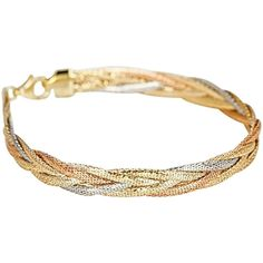 From Italy, the classic look of tri-colored gold makes this bracelet a piece you'll keep forever. Textured and polished yellow, white, and rose gold herringbone chains form a chic braided motif at wide. Link Bracelets, Jewelry Bracelets, Bangles, Gold Herringbone Chain, Retro Art, Gold Jewellery, Affair, Arm, White Gold
