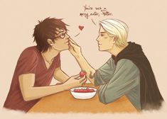 Aww i made myself sad ; Edit: The amazing Wrote a sweet little story which will give you the feels ----- Harry Potter & Draco Malfoy. Chibi Drarry - Love you too Harry Potter Puns, Harry Potter Draco Malfoy, Harry Potter Ships, Harry James Potter, Harry Potter Anime, Harry Potter Fan Art, Drarry Fanart, Hogwarts, Dr H