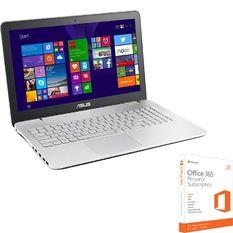 Bộ Laptop ASUS N551JQ-CN003H 15.6inch (Bạc) và Phần mềm office 365 bản quyền