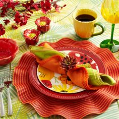 Celebrate the first day of spring with a bright, floral table setting