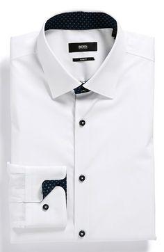 bc8649aa32 BOSS HUGO BOSS  Juri  Slim Fit Dress Shirt available at  Nordstrom Mens  White