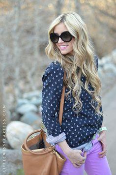 Blue anchor print shirt and long blonde waves