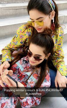 My girl's❤ Sister Poses, Sister Photography, Beautiful Girl Image, Beautiful Ladies, Aiman Khan, Pakistani Actress, Girls Dpz, Pakistani Dresses, Cut And Color