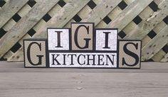 Gigi's Kitchen Block Sign  Wood and Vinyl  Block Sign