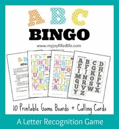 ABC Bingo - FREE Printable, plus links to 4 more FREE letter games.