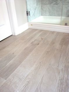 bathrooms - Italian Porcelain Plank Tile, faux wood tile, tile that looks like- wood, Italian Porcelain Plank Tile Bathroom Floor by I would chose a different wood tone, but I do like that wood look tile on the floor!